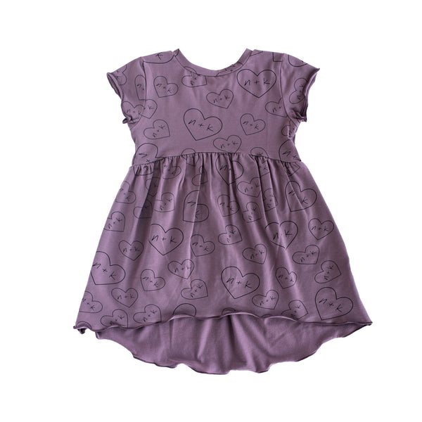 gathered dress - mauve nk hearts