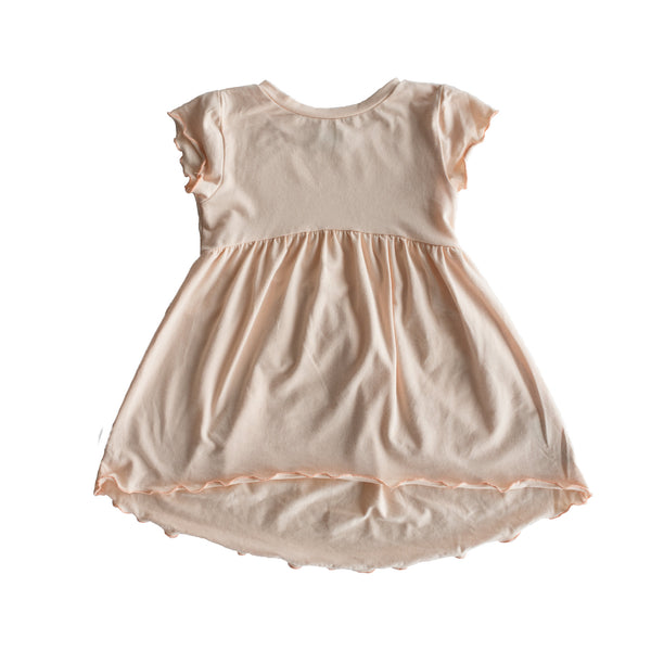 gathered dress - peach