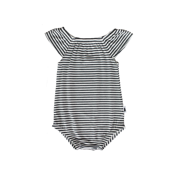 ruffle bodysuit - striped charcoal