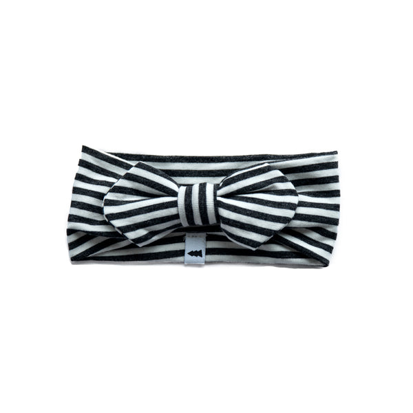 headband - striped charcoal