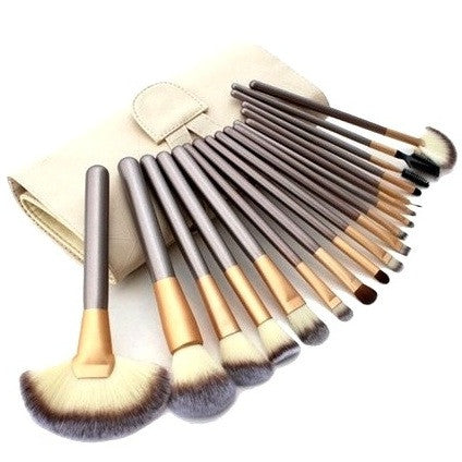 Set of 18 Beige Professional Makeup Brushes