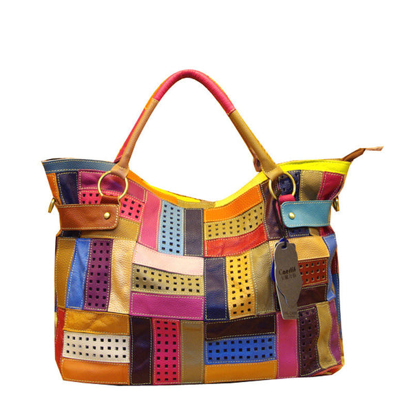 Patchwork Bricks Tote Genuine Leather