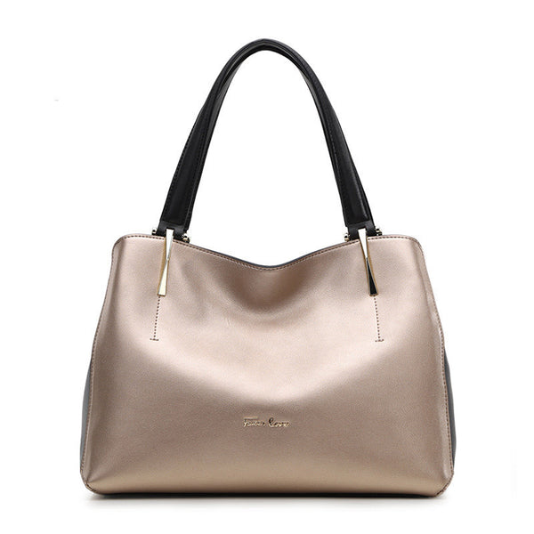 Gold Tone Leather Handbag
