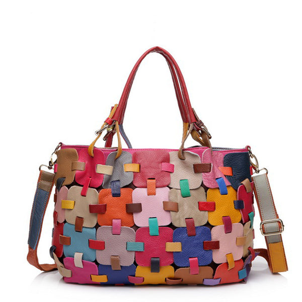 Color Patches Genuine Leather Bag