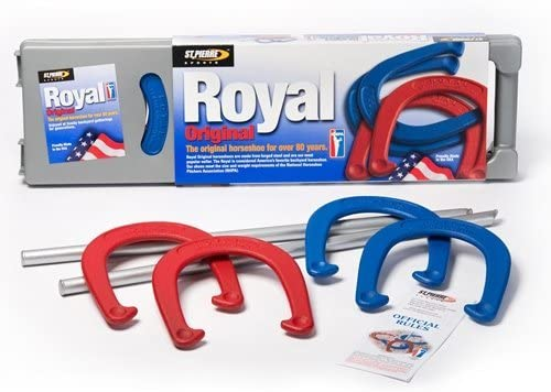 St. Pierre® Royal Original Horseshoe Set - 4 Horseshoes, 2 Steel Stakes, Rulebook