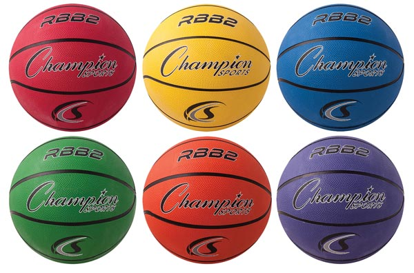 Set of 6 Intermediate Champion Sports Rubber Basketballs 28.5