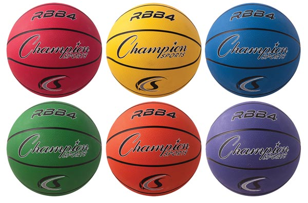 Set of 6 Junior Champion Sports Rubber Basketballs 27.5