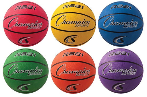 Set of 6 Champion Sports Rubber Basketballs 29.5
