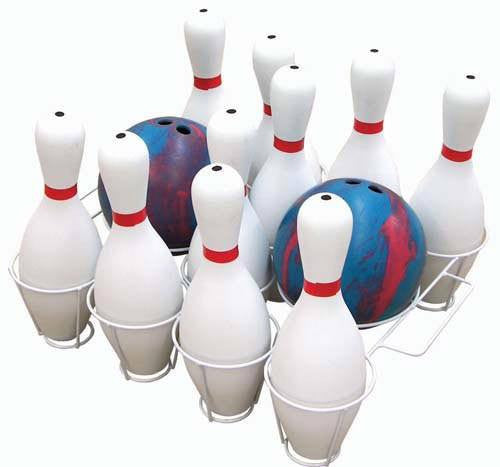 Bowling Basket Combo (Includes Pins & Two Balls) | PE Equipment & Games | Gear Up Sports