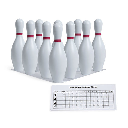 White Plastic Bowling Pin Set with Set Up Sheet