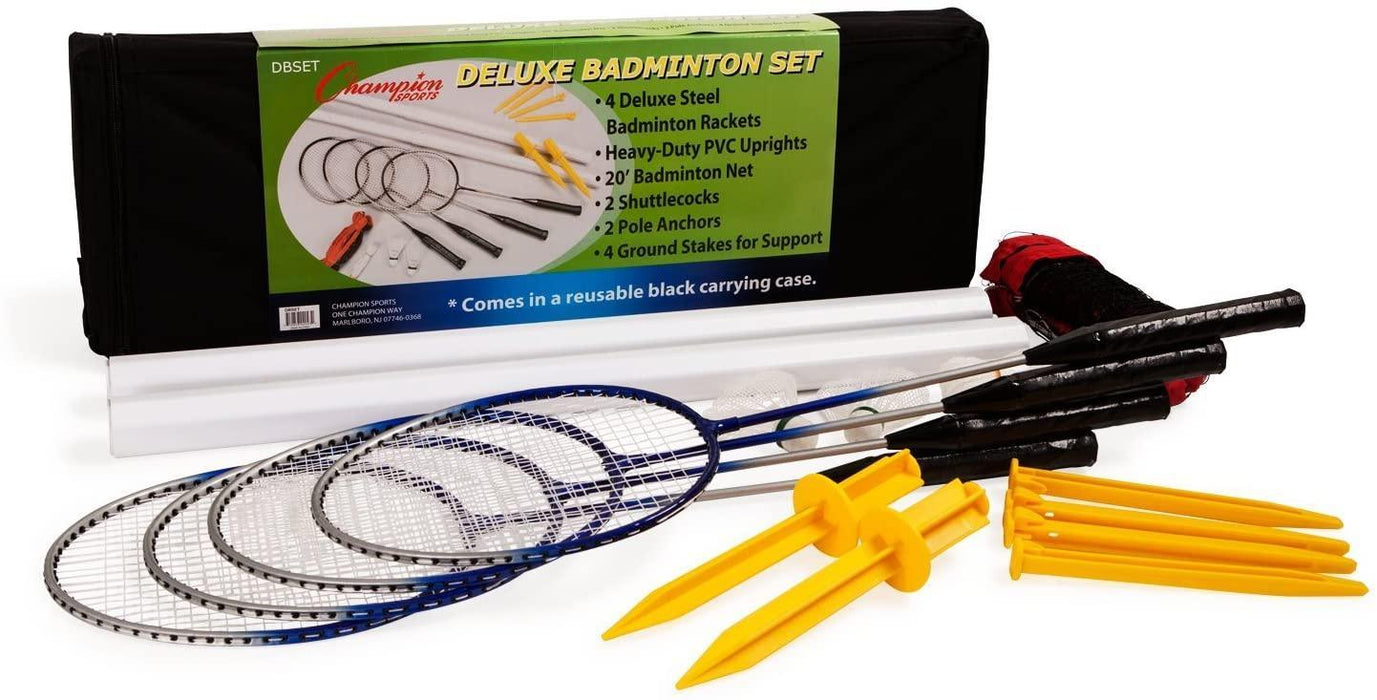 Champion Sports Deluxe Badminton Set with 4 Rackets, 2 Shuttlecocks, Net, Poles