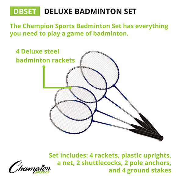 Champion Sports Deluxe Badminton Set Rackets