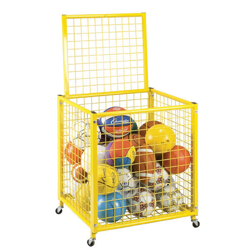 Yellow Grid Ball Locker | Lockable Lid