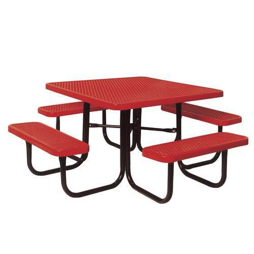 "46"" Heavy Duty Outdoor Square Table - Red Diamond Pattern"