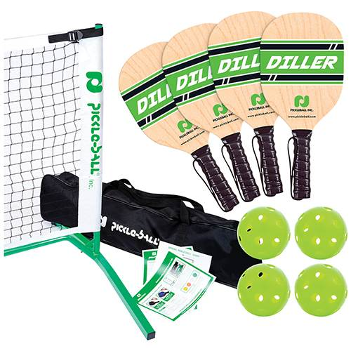 Diller Tournament 3.0 Pickleball Set - Net, Frame, 4 Wood Paddles