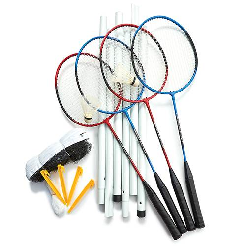 Badminton Set with 4 Rackets, 2 Shuttlecocks, Net, Poles