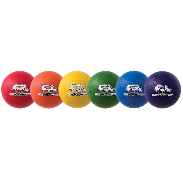 "Set of 6 - RHINO SKIN 6.3"" Low Bounce Multicolor Dodgeballs"