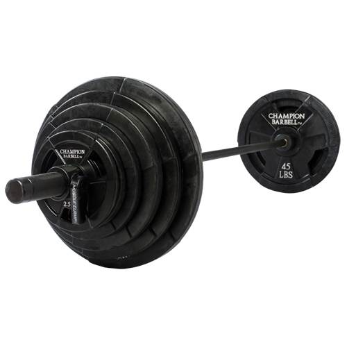 Rubber Coated Olympic Grip Plates by Champion Barbell 300lbs set