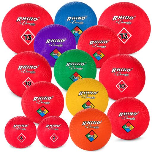Set of 14 Mixed Playground Rubber Balls with Carry Bag