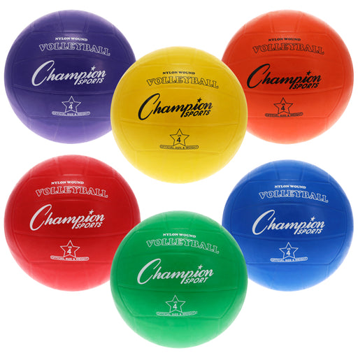 Multicolor Rubber Volleyball Set (Set of 6) Champion Sports
