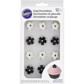 Black and White Flower Icing Decorations