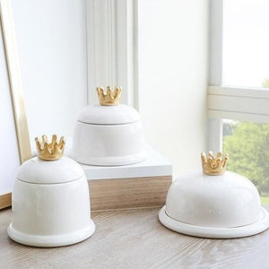 1 Piece Ceramic Storage Box Crown Decorative-Techura Art & Design