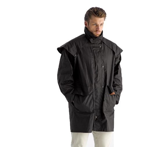 Oilskin coat, full waterproof coverage from the neck to the thighs