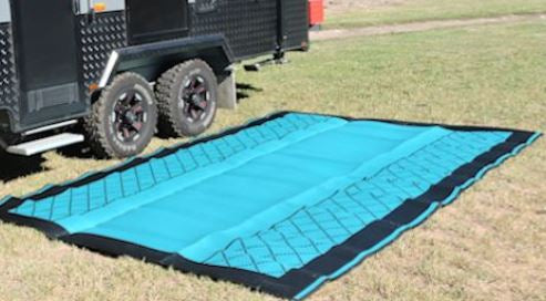 Teal and black camping mat