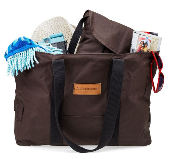 Oilskin beach bag with a separate insulated cooler bag.