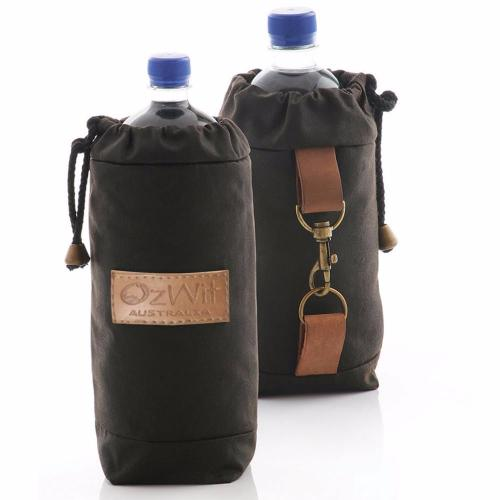 Oilskin drink bottle cooler is insulated with wool, will keep cold for hours