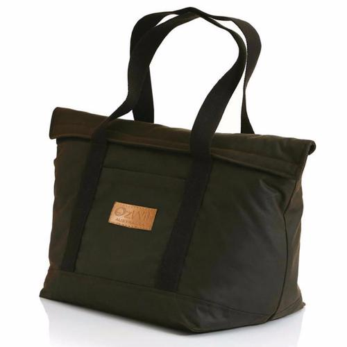 Australian oilskin market cooler bag will keep items cold for 24 hours with ice and hot for four hours.