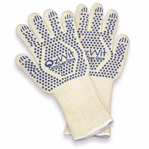 Heat resistant camp oven gloves.