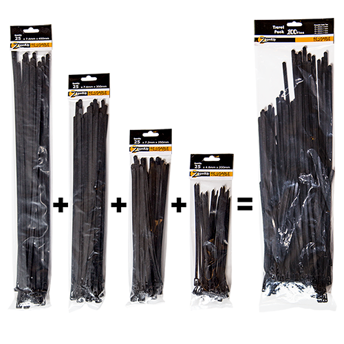 Reusable Cable Ties - Travel Pack - Four sizes, FREE POSTAGE