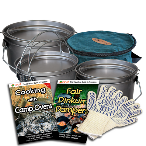 OzWit's Ultimate Spun Steel Camp Oven Pack, Dutch Oven Pack.