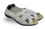Skooda Sandals Ladies Pearl White, Black soles - FREE Shipping