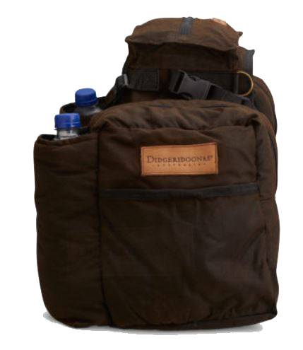 Oilskin Saddle Bag  insulated with wool and side bags and drink holders to keep warm or cold for hours