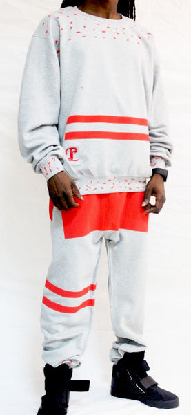 The Red berry cream sweat suit 2piece set