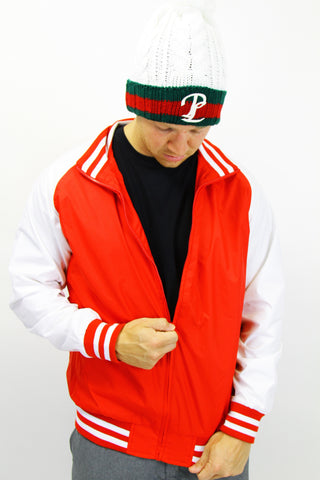 MENS RED VET LETTERMAN JACKET