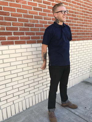MEN'S NAVY BLUE POLO SIDE-ZIP