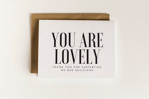 Card - You Are Lovely - Clover Lane Crates, Add a Card - Clover Lane Crates