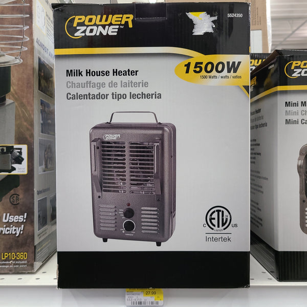 Power Zone 1500W Electric Milk House Heater