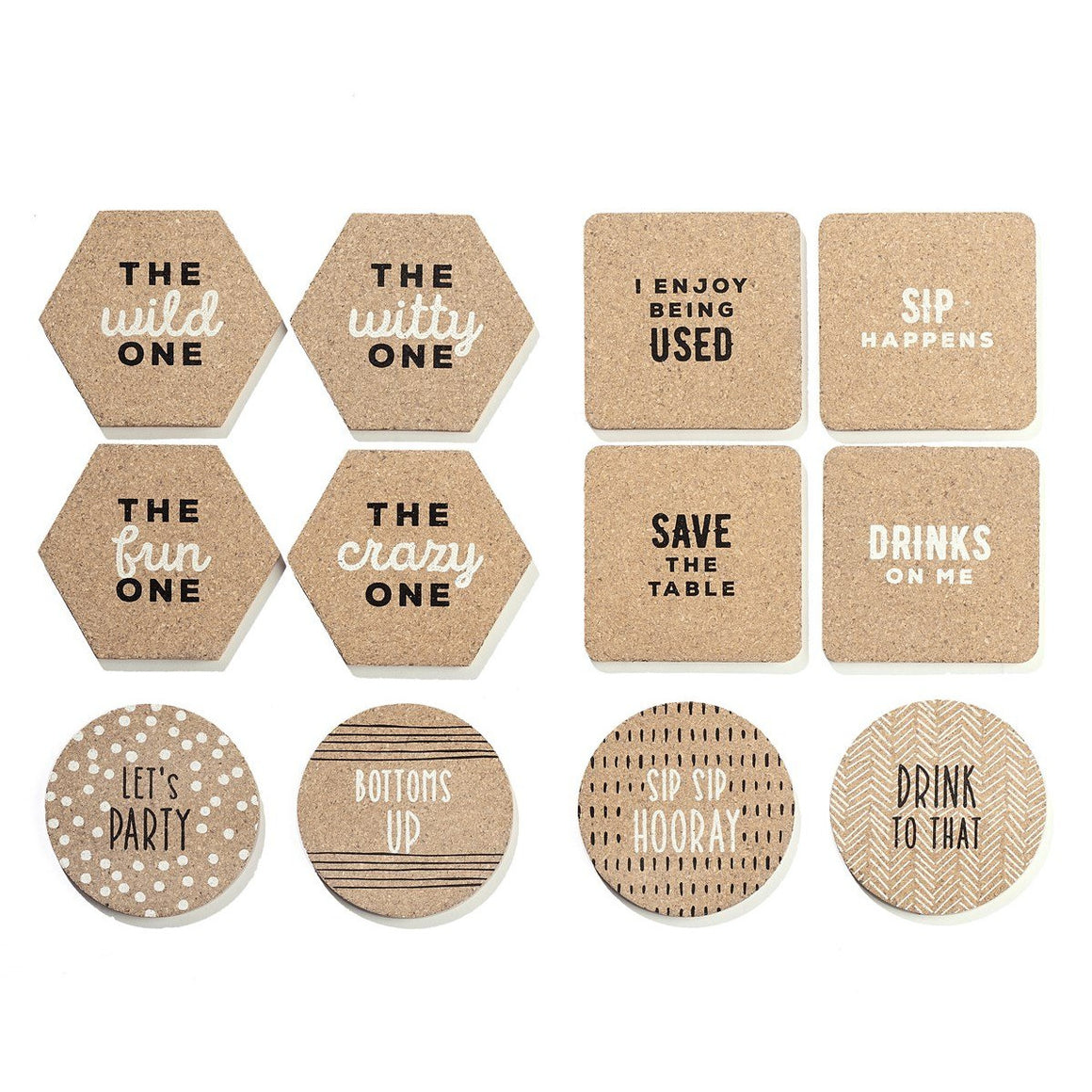 Cork Coaster Saying Sets