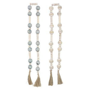 Wood Blessing Beads with Tassel Ends