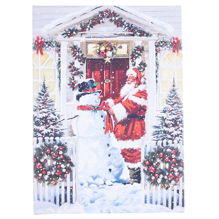 Santa And Snowman Lighted Print