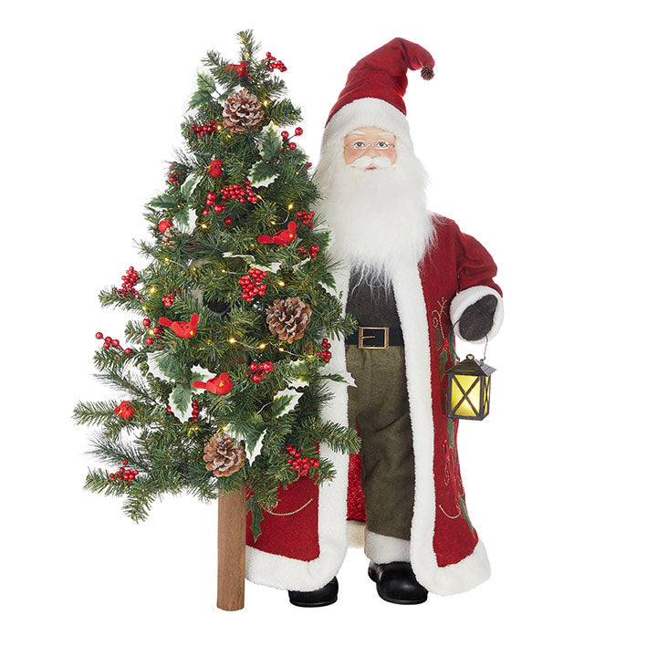 Santa With Lighted Tree