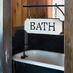 Metal Bath Sign with Hanging Display Bar