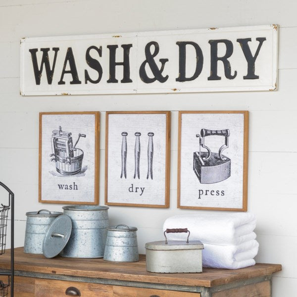 Metal Wash and Dry Sign