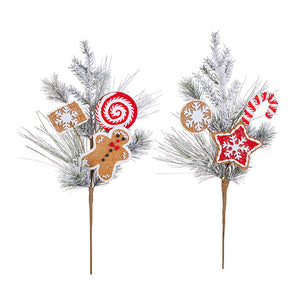 Flocked Gingerbread Pick