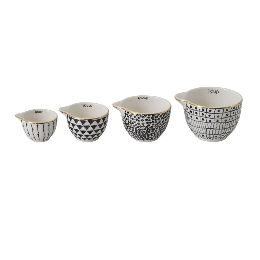 Stoneware Measuring Cups - Black/Gold