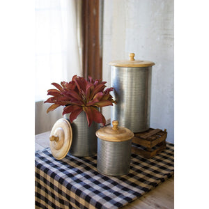 Galvanized Canisters Set